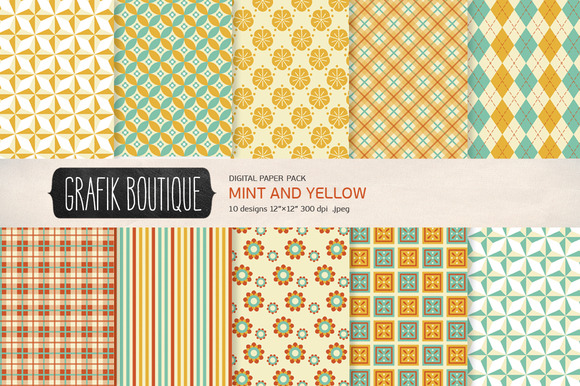 Mint Yellow Pattern Digital Paper