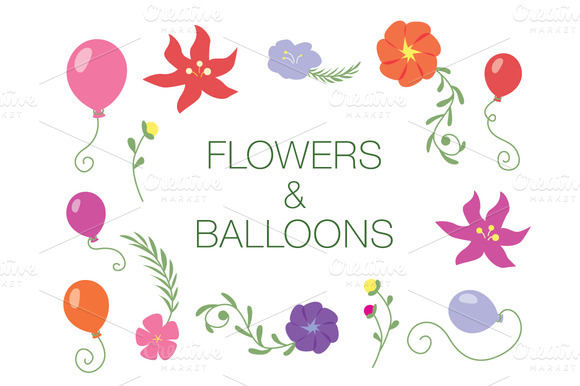 Flowers Balloons Vector Pack