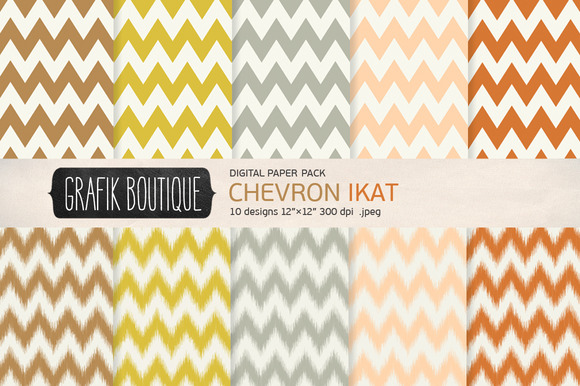Chevron Ikat Digital Papers