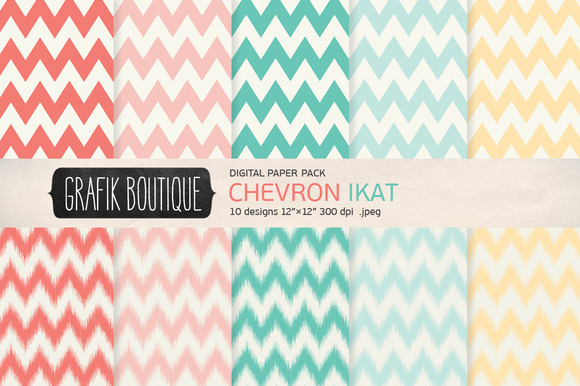 Chevron Ikat Creamy Pink Papers