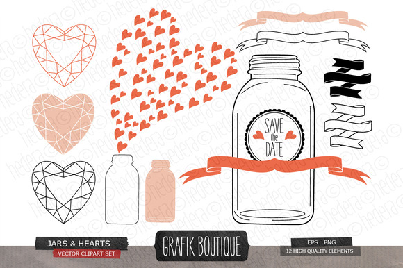Mason Jar Diamond Hearts Vector
