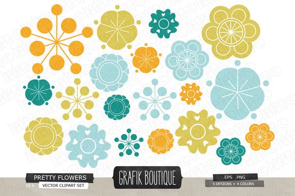 Flowers Vector Clip Art 01