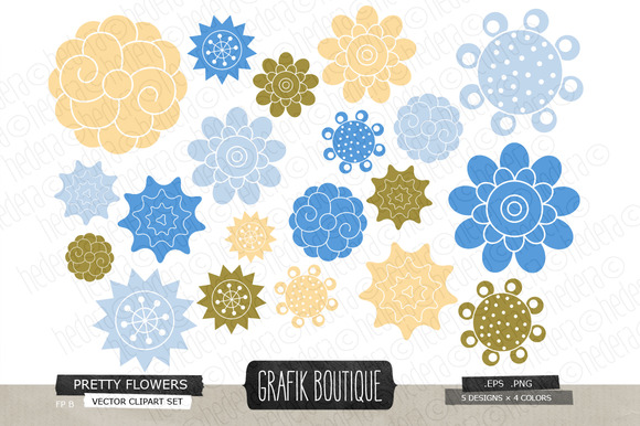 Flowers Vector Clip Art 02