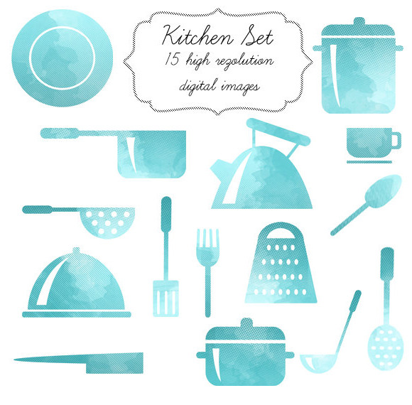 Watercolor Kitchen Set