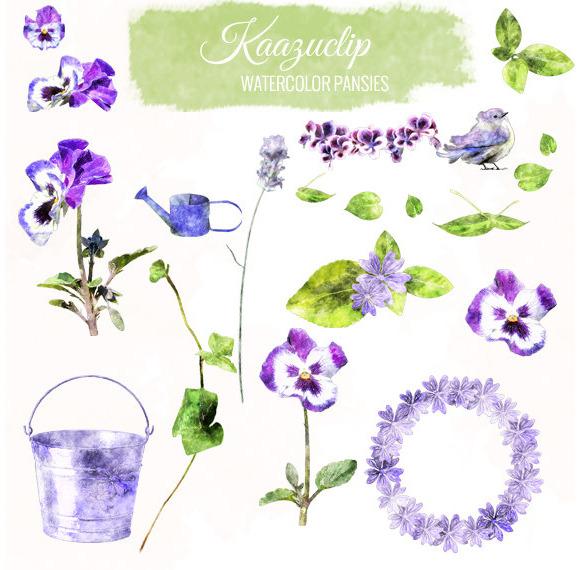 Watercolor Pansies Set
