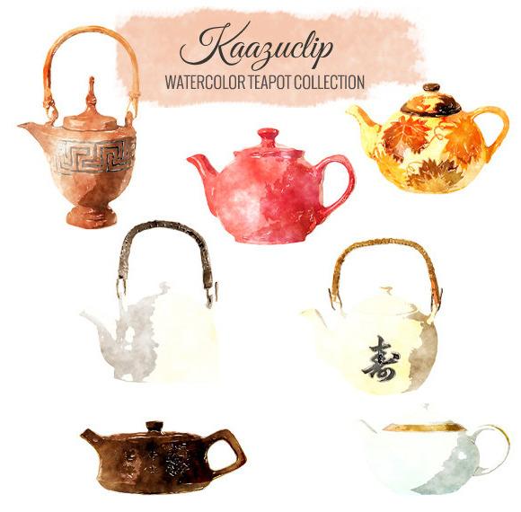 Watercolor Tea Pot Set
