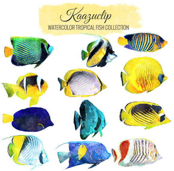 Watercolor Tropical Fish Set