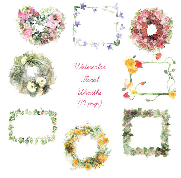 Watercolor Floral Wreath Set