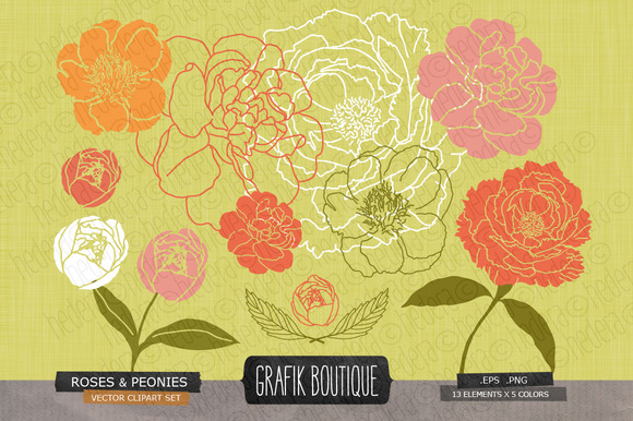 Roses Peonies Mustard Background