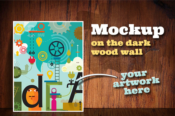 Mockup On The Dark Wood Wall