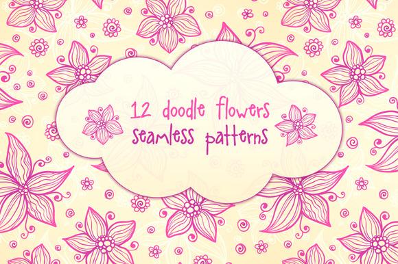 12 Vector Flowers Seamless Patterns