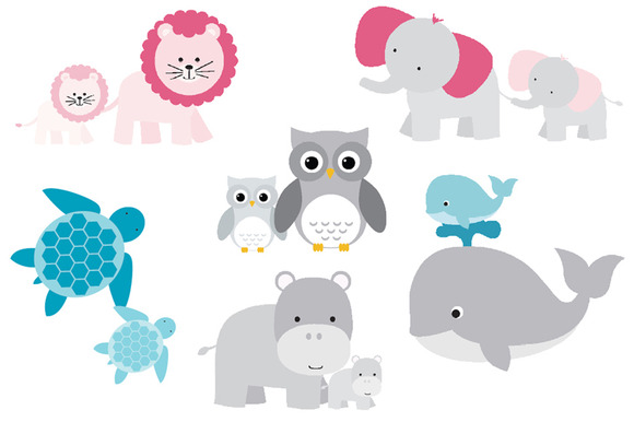 Mom And Baby Animals Set