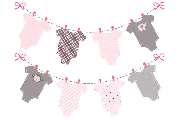Baby Girl Pink Onesie Bunting Banner