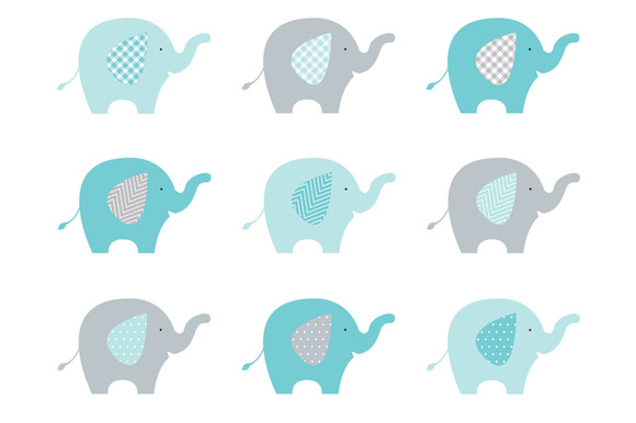 Elephants Aqua Grey