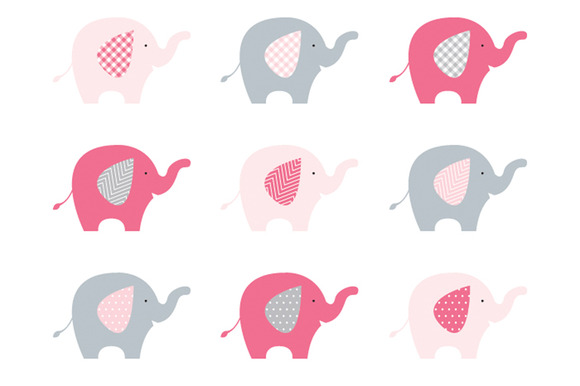 Elephants Pink Grey