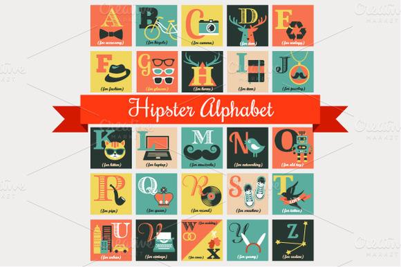 Alphabet Hipster Vector Poster