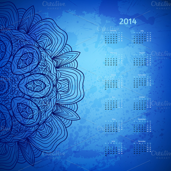 2014 Year Vector Calendar