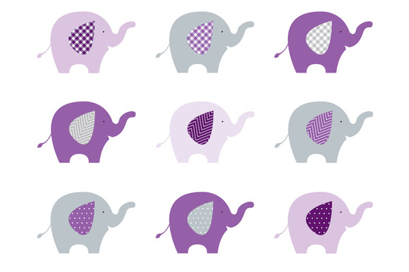 Elephants Purple Grey