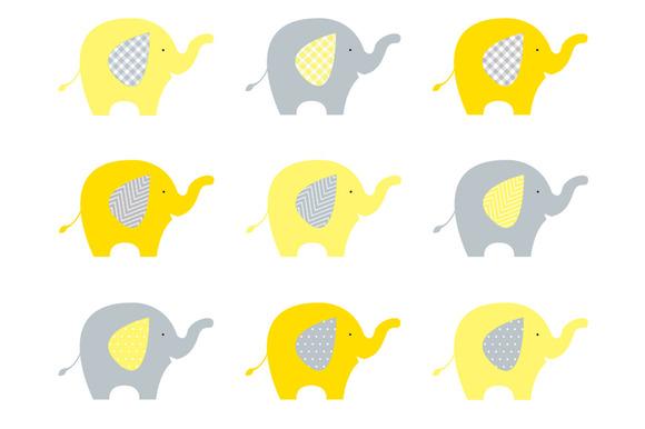 Elephants Yellow Grey