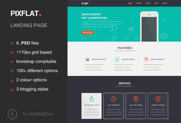 Pixflat Landing Page PSD