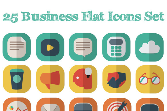 25 Business Flat Icons Set