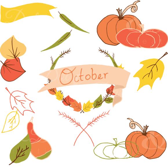Hand-drawn October Fall Clip Art