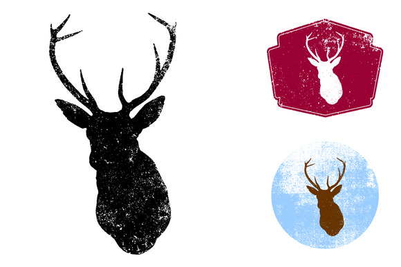 Textured Deer Head Vector