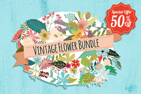 Vintage Flowers Bundle 50% Off