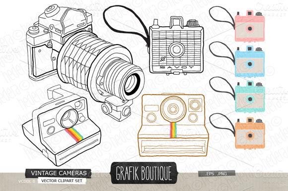 Vintage Cameras Handdrawn Vector