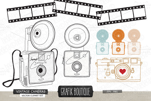 Vintage Cameras Hand Drawn Vecor