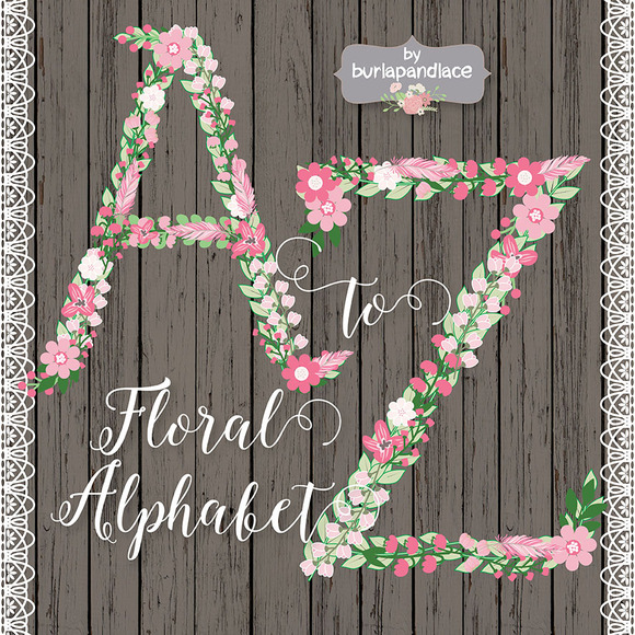 Rustic Floral Feather Alphabet Clipa