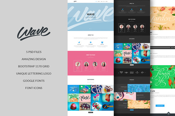 Wave Clean Creative PSD Template
