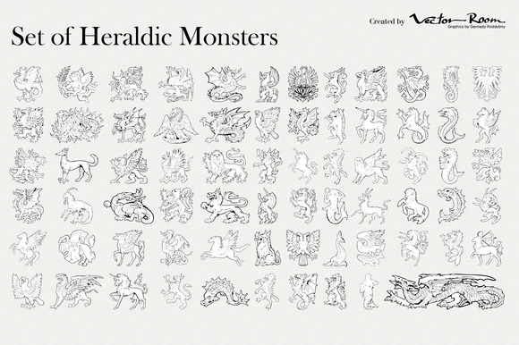 Set Of Heraldic Monsters