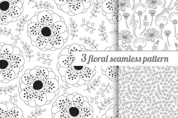 3 Lovely Flower Seamless Pattern