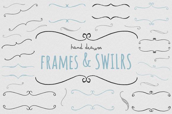 Frames And Swirls Hand Drawn