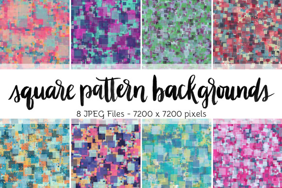Square Pattern Backgrounds Set