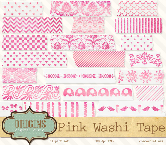 Pink Digital Washi Tape Clipart