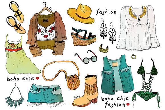 Fashion Illustration Clothing Set