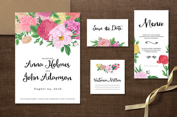Roses And Peonies Wedding Set