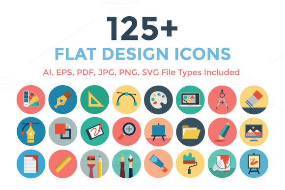 125 Flat Design Icons