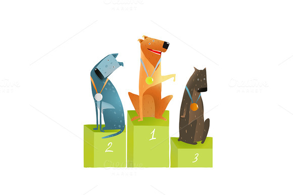 Three Winners Dogs Sitting On Podium