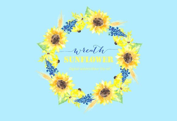Sunflower Wreath Watercolour Clipart