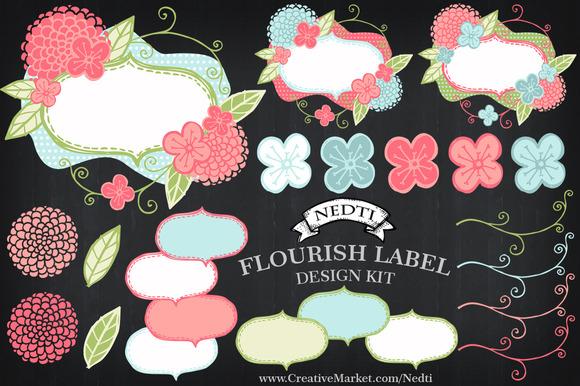 Flower Labels Flourish Place Cards