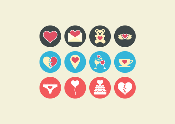 36 Flat Love Vector Icons