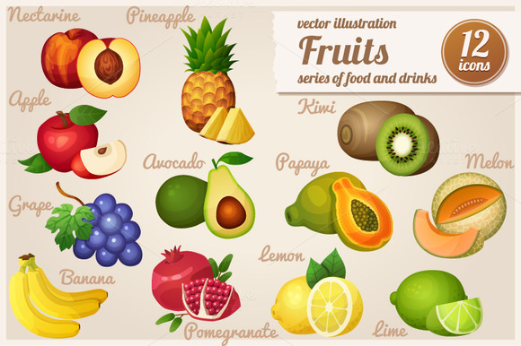 Set Of Food Icons Fruits