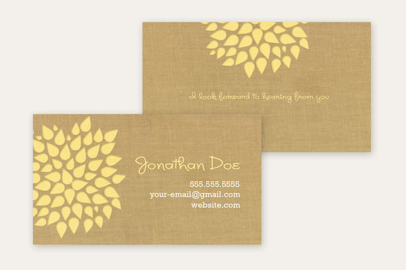 Business Card Template Kraft Flower