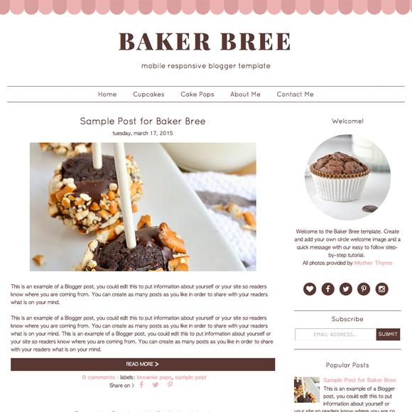 Baker Bree Blogger Template