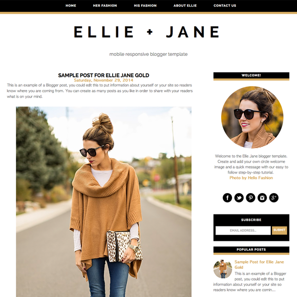 Ellie Jane Blogger Template