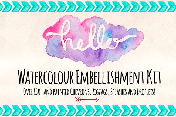 160 Watercolor Embellishment Kit