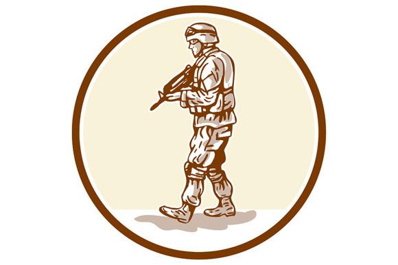 American Soldier Rifle Walking Circl